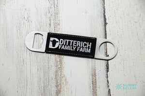 Custom Black/Silver, Bottle Opener, Wood, Laser Engraved, 7in