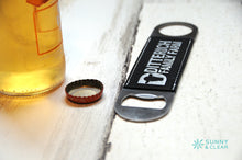 Load image into Gallery viewer, Custom Black/Silver, Bottle Opener, Wood, Laser Engraved, 7in