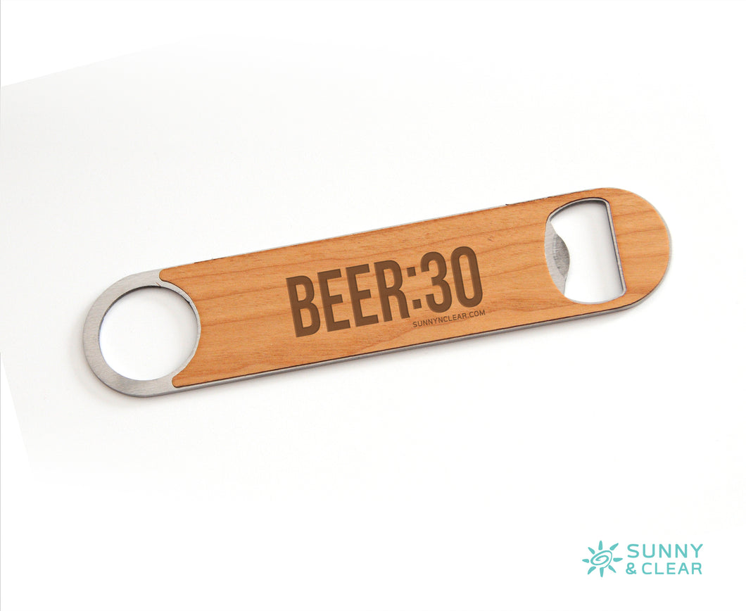 Beer 30, Bottle Opener, Wood, Laser Engraved, 7in