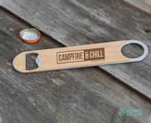 Load image into Gallery viewer, Campfire and Chill Bottle Opener, Wood, Laser Engraved, 7in