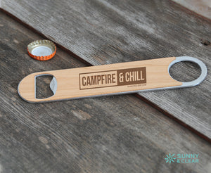 Campfire and Chill Bottle Opener, Wood, Laser Engraved, 7in