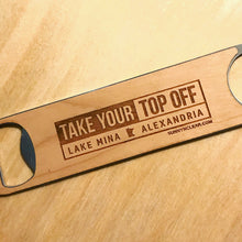 Load image into Gallery viewer, Custom Bottle Opener, Wood, Lake or Town, MN, Laser Engraved, 7in