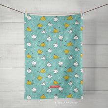 Load image into Gallery viewer, Chicken Tea Towel, Turquoise Blue or Tomato Orange, Kitchen Towel, Linen Cotton