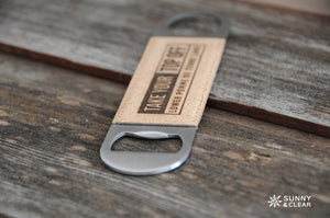 Custom Bottle Opener, Cork, Lake or Town, Laser Engraved, 7in