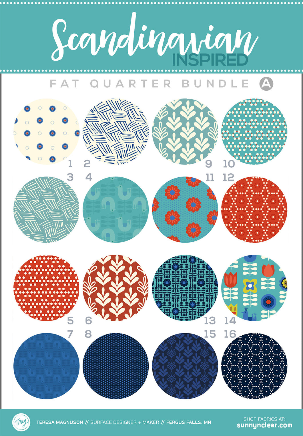 Fat Quarter Bundle - Scandinavian - Aqua