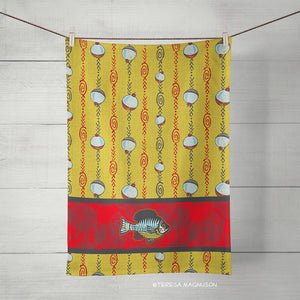 Fish & Fishing Bobber Tea Towels, Set of 2, Sunfish Kitchen Towels, Linen Cotton