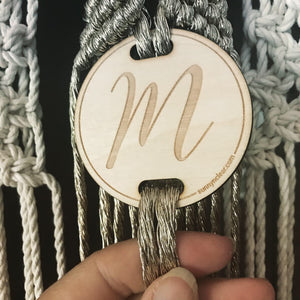 Custom Wood Macrame Tag, Round 2.5in, Macrame Supplies, Laser Engraved, Fiber Art, Modern Boho,