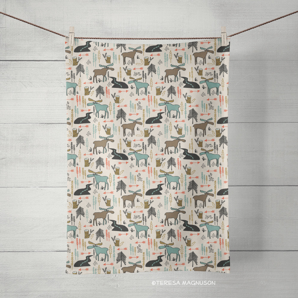 Moose Tea Towel, Kitchen Towel, Single, Linen Cotton