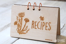 Load image into Gallery viewer, Thistles Recipe Card Binder, Wood Cover, 4x6, Includes Recipe Cards, 3 Ring Binder