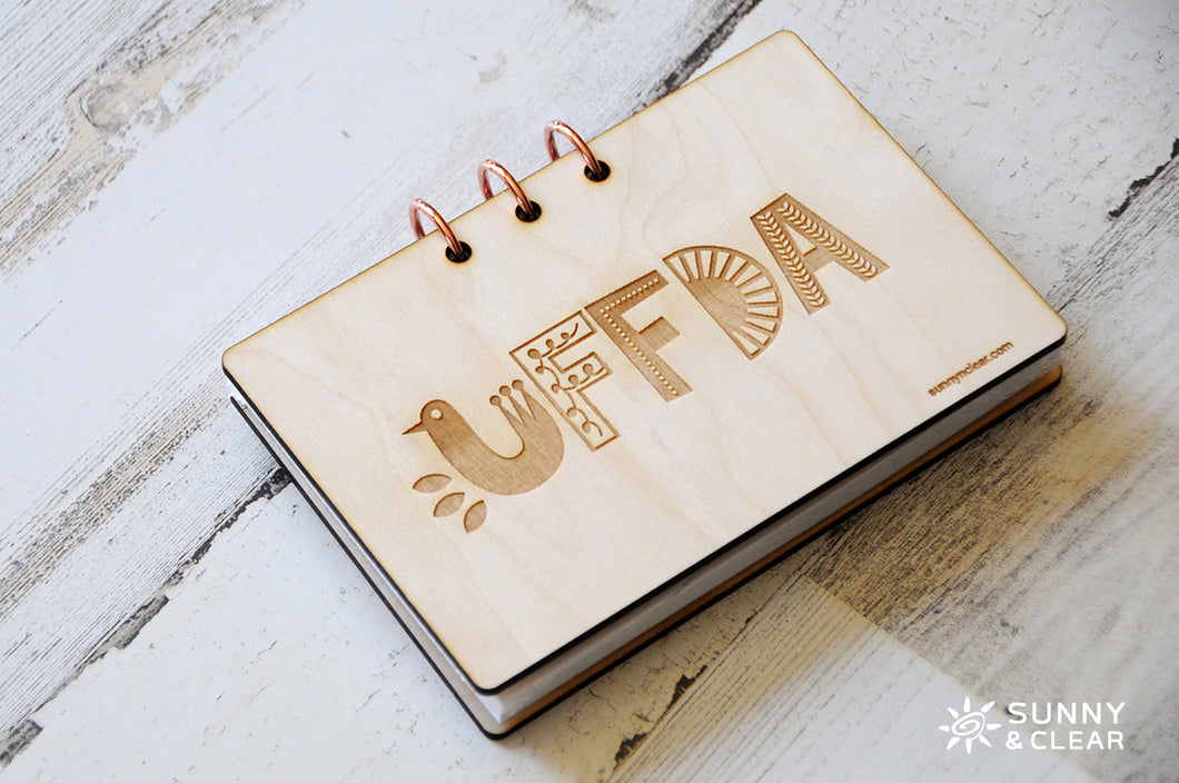 UFFDA Recipe Card Binder, Wood Cover, 4x6, Includes Recipe Cards, 3 Ring Binder