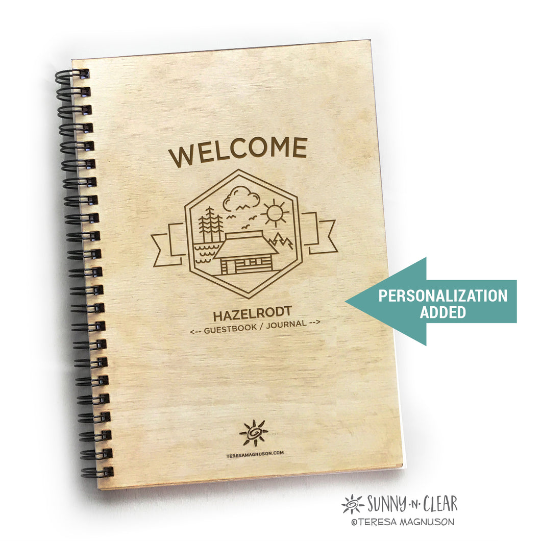 Cabin Hexagon Welcome, Vacation Guest Book Journal, Wood Notebook, Rustic, Lake, Personalized 5.5x7.875