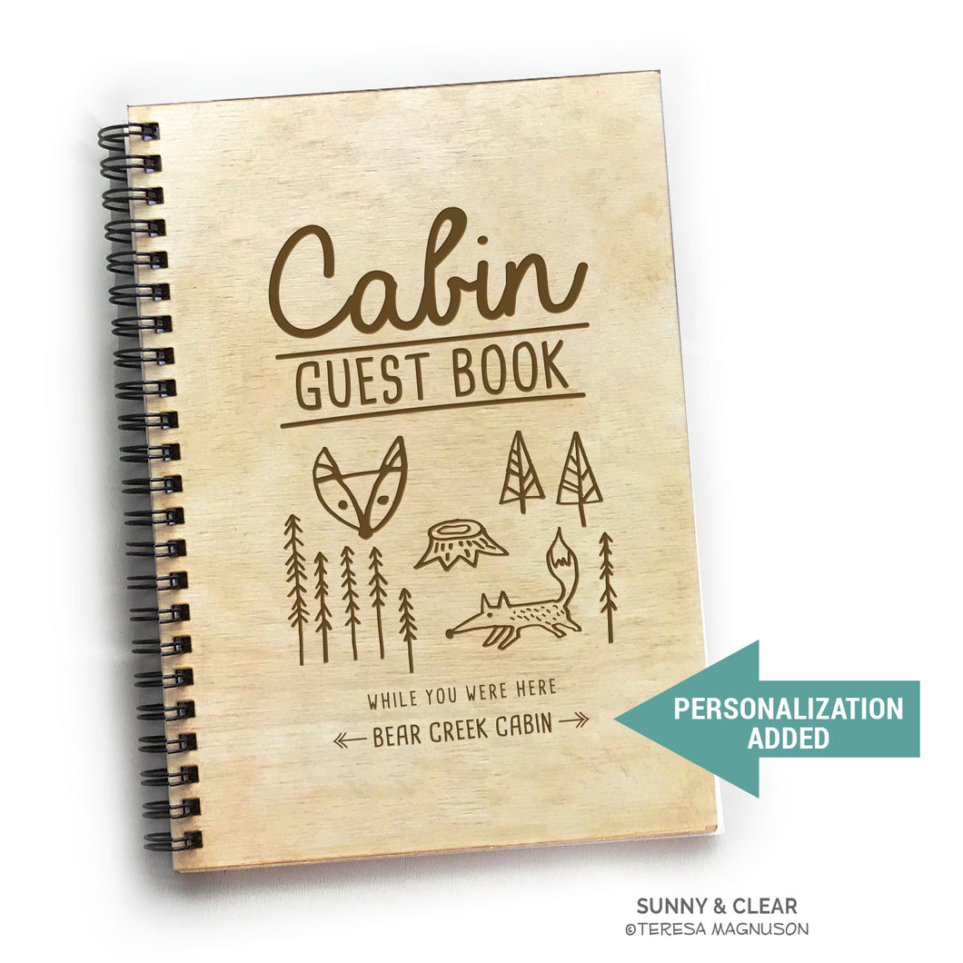 Fox, Woodsy, Vacation Guest Book Journal, Wood Notebook, VRBO, Cabin, Lake, Personalized 5.5x7.875