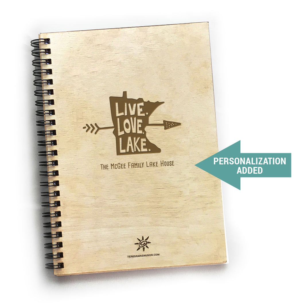 MN Live Love Lake, Vacation Guest Book Journal, Wood Notebook, VRBO, Cabin, Lake, Personalized 5.5x7.875