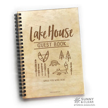 Load image into Gallery viewer, Lakehouse Guest Book, Woodsy Fox, Vacation Journal, Wood Notebook, VRBO, Cabin, Lake, Personalized 5.5x7.875
