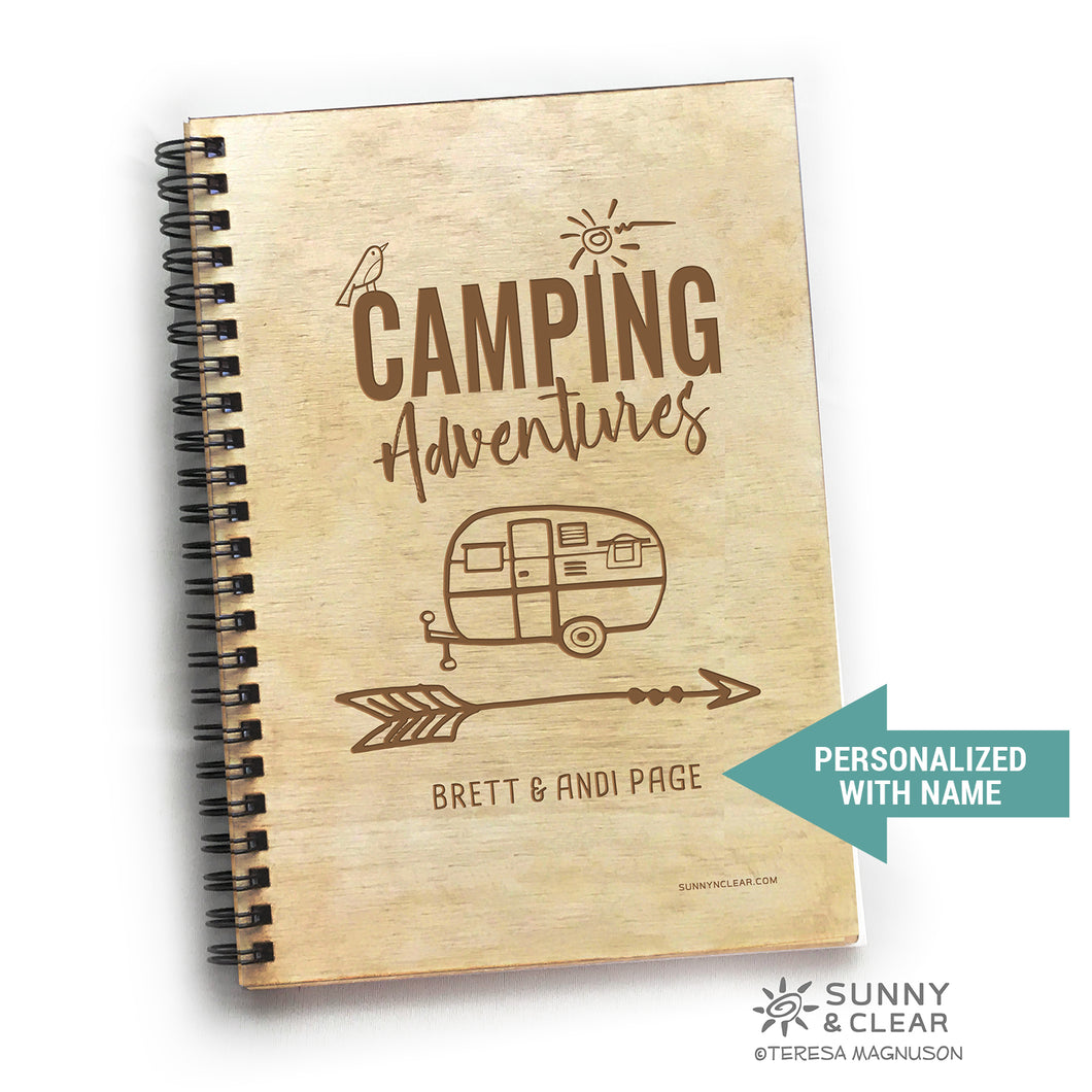 Camper, Camping Adventures, RV Vacation Travel Journal,  Wood Notebook, Camper, Lake, Personalized 5.5x7.875