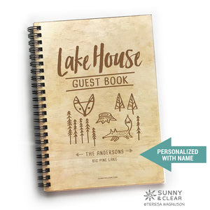 Lakehouse Guest Book, Woodsy Fox, Vacation Journal, Wood Notebook, VRBO, Cabin, Lake, Personalized 5.5x7.875