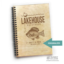 Load image into Gallery viewer, Lakehouse Guest Book, Fish, Vacation Journal, Wood Notebook, VRBO, Cabin, Personalized 5.5x7.875