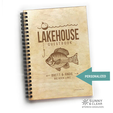 Lakehouse Guest Book, Fish, Vacation Journal, Wood Notebook, VRBO, Cabin, Personalized 5.5x7.875
