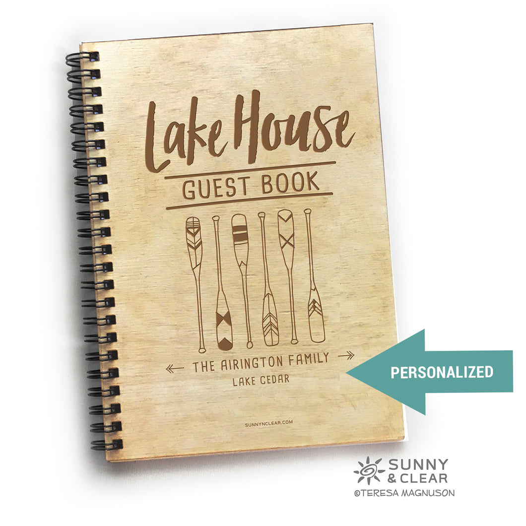 Lakehouse Guest Book, Oars Boat Paddles, Vacation Journal, Wood Notebook, VRBO, Cabin, Personalized 5.5x7.875
