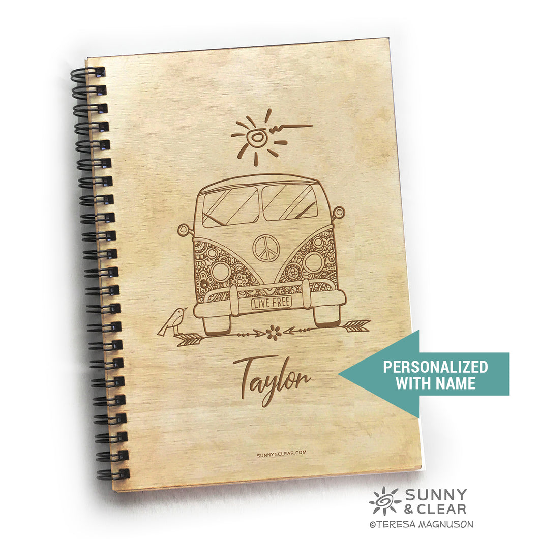 VW Van Bus, Journal, Wood Notebook,  Live Free, Retro, Camping Adventure, Cabin, Lake, 5.5x7.875
