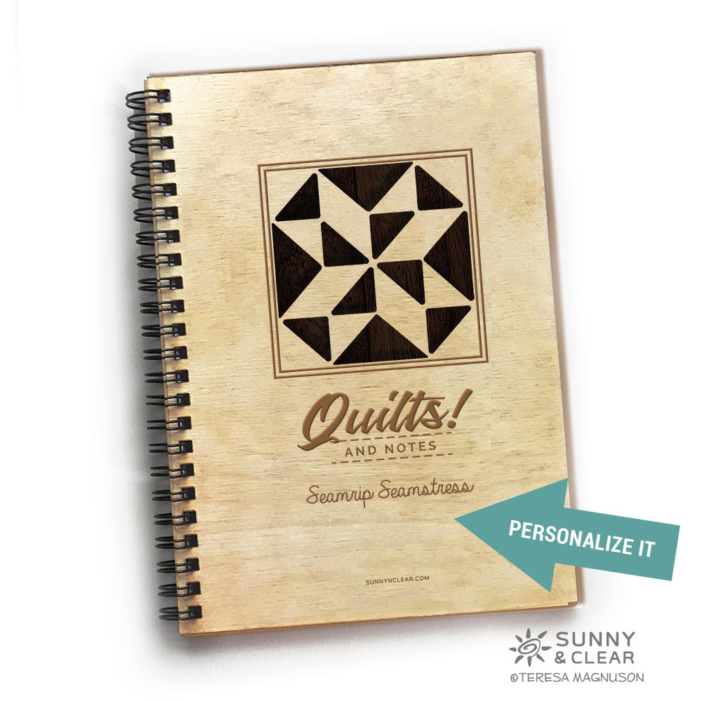 Barn Quilt Wood Notebook,  Quilting Notes, Journal 5.5x7.875 Laser Engraved