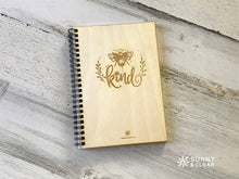 Load image into Gallery viewer, Bee Kind, Travel Journal, Wood Notebook,  Camping Adventure, Cabin, Lake, Personalized 5.5x7.875