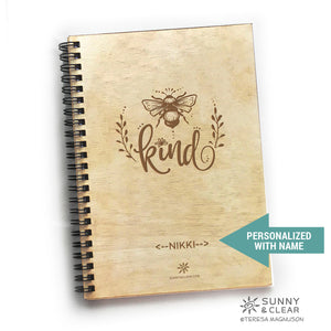 Bee Kind, Travel Journal, Wood Notebook,  Camping Adventure, Cabin, Lake, Personalized 5.5x7.875