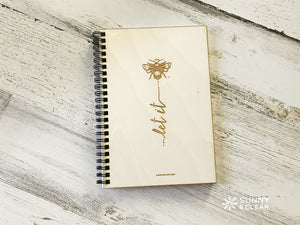 Let it Bee, Journal, Wood Notebook, Bumble Bee, Cabin, Lake, 5.5x7.875 in