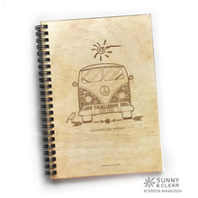 Load image into Gallery viewer, VW Van Bus, Journal, Wood Notebook,  Live Free, Retro, Camping Adventure, Cabin, Lake, 5.5x7.875