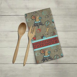 Woodsy Squirrel Tea Towel, Kitchen Towel, Linen Cotton