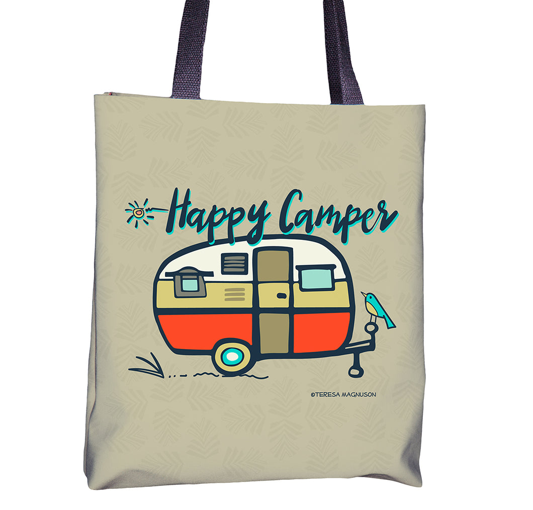 Tote bag with Happy Camper vintage, Orange, Sunny & Clear by Teresa Magnuson