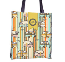 Load image into Gallery viewer, happy camper tote bag with vintage campers in retro colors