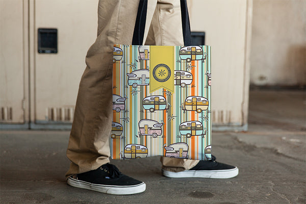 happy camper tote bag with vintage campers in retro colors by Teresa Magnuson