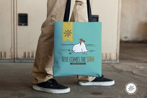Tote bag with Chicken, Here Comes the Sun, Sunny & Clear by Teresa Magnuson