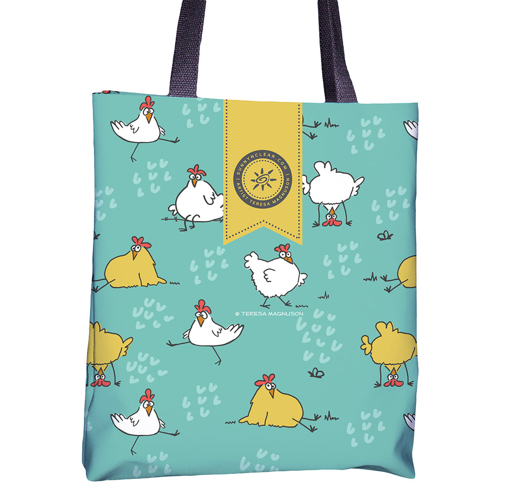 Tote bag with Chickens all over, Aqua, Sunny & Clear by Teresa Magnuson