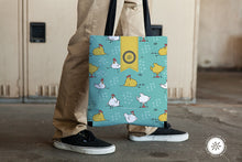 Load image into Gallery viewer, Tote bag with Chickens all over, Aqua, Sunny & Clear by Teresa Magnuson