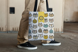 Cat Faces on tote bag by Teresa Magnuson for Sunny & Clear