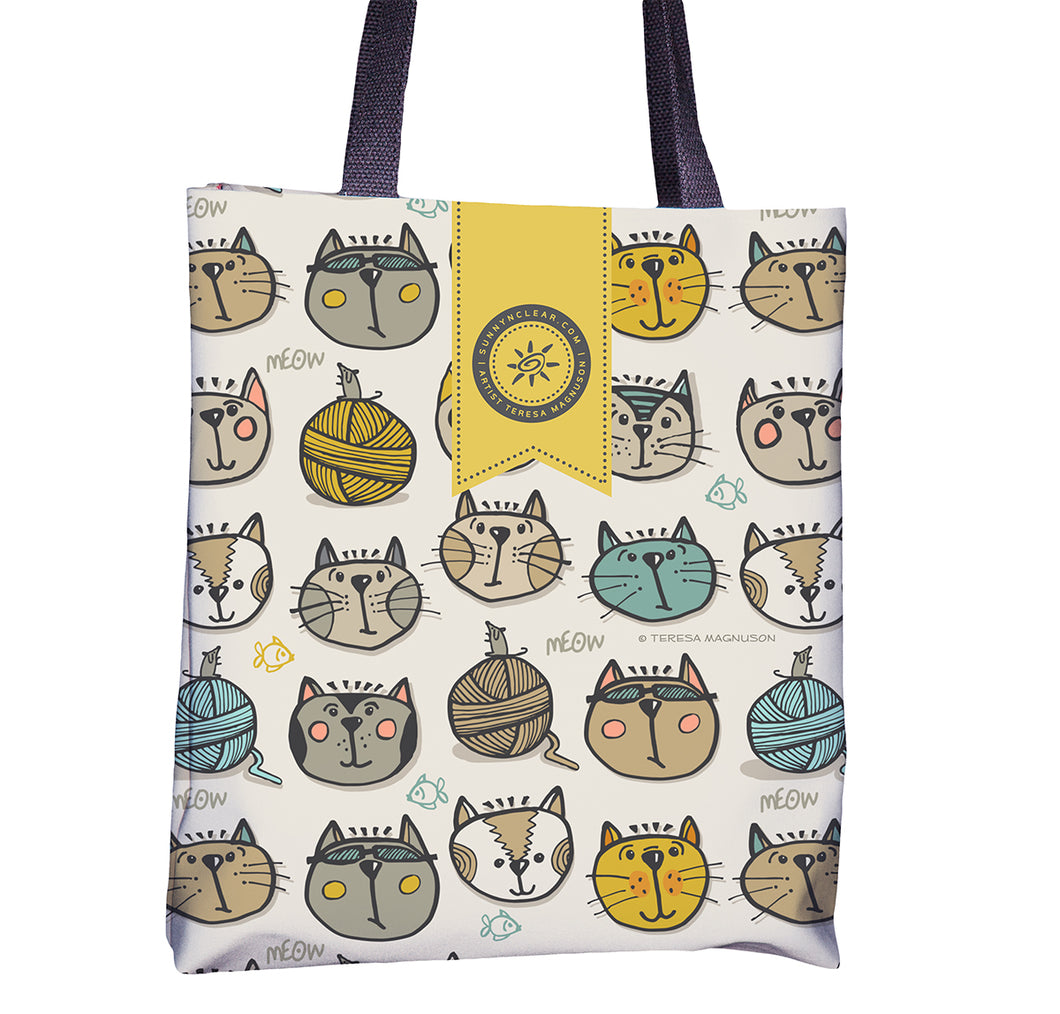 Cat Faces on tote bag by Teresa Magnuson