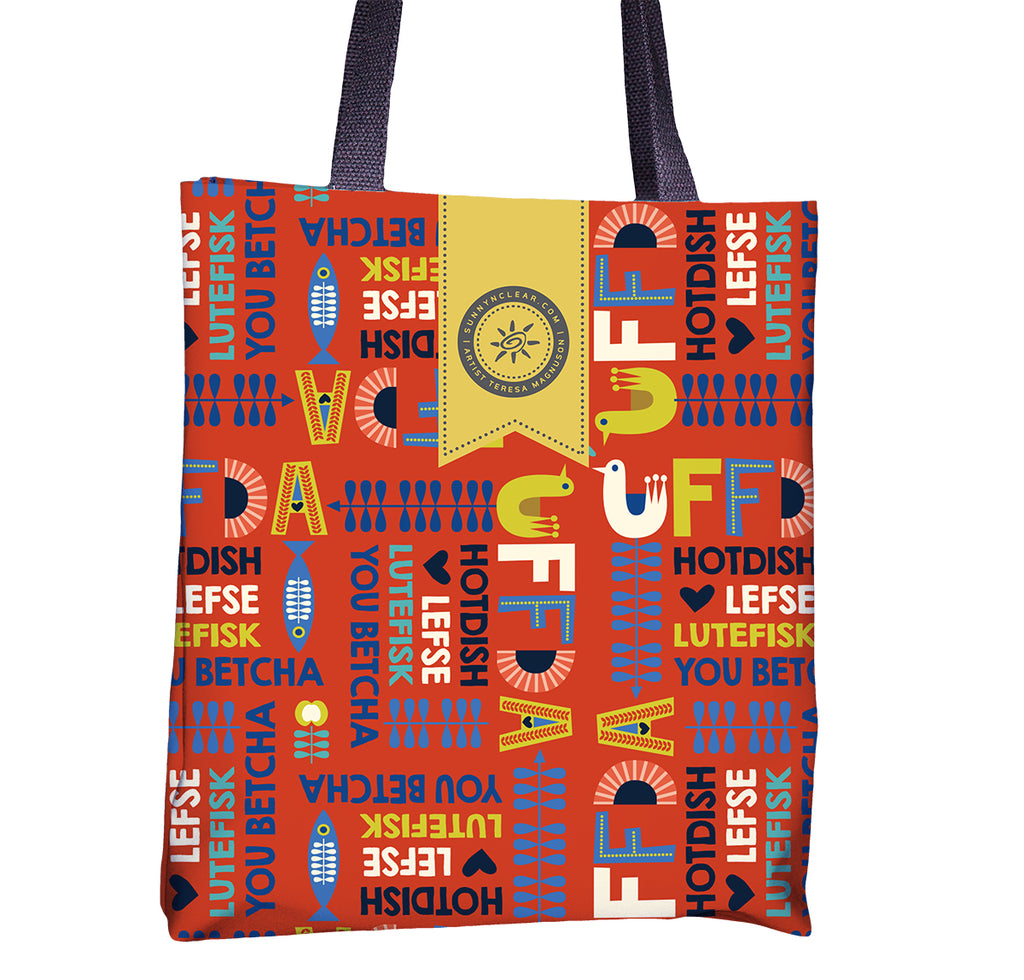 uffda tote bag by teresa magnuson for sunny and clear