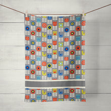 Load image into Gallery viewer, Nordic Tea Towel, Floral Gray, Kitchen Towel, Linen Cotton