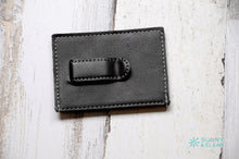 Load image into Gallery viewer, Wallet Clip, Leather, Personalized, Black and Silver, Laser Engraved, Grad Gift, Father's Day