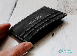Wallet Clip, Leather, Personalized, Black and Silver, Laser Engraved, Grad Gift, Father's Day