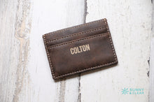 Load image into Gallery viewer, Wallet Clip, Leather, Personalized, Dark Brown, Laser Engraved, Grad Gift, Father's Day