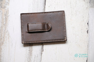 Wallet Clip, Leather, Personalized, Dark Brown, Laser Engraved, Grad Gift, Father's Day