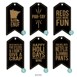 Wine Tags, Various Sayings, Black, Laminated Wood, Laser Engraved, Wine Gift