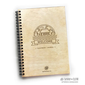 Cabin Icon Welcome Banner, Vacation Guest Book Journal, Wood Notebook,  Up North, Cabin, Lake, Personalized 5.5x7.875