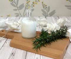 Rosemary and Cedarwood shampoo in a jar with rosemary plant around it