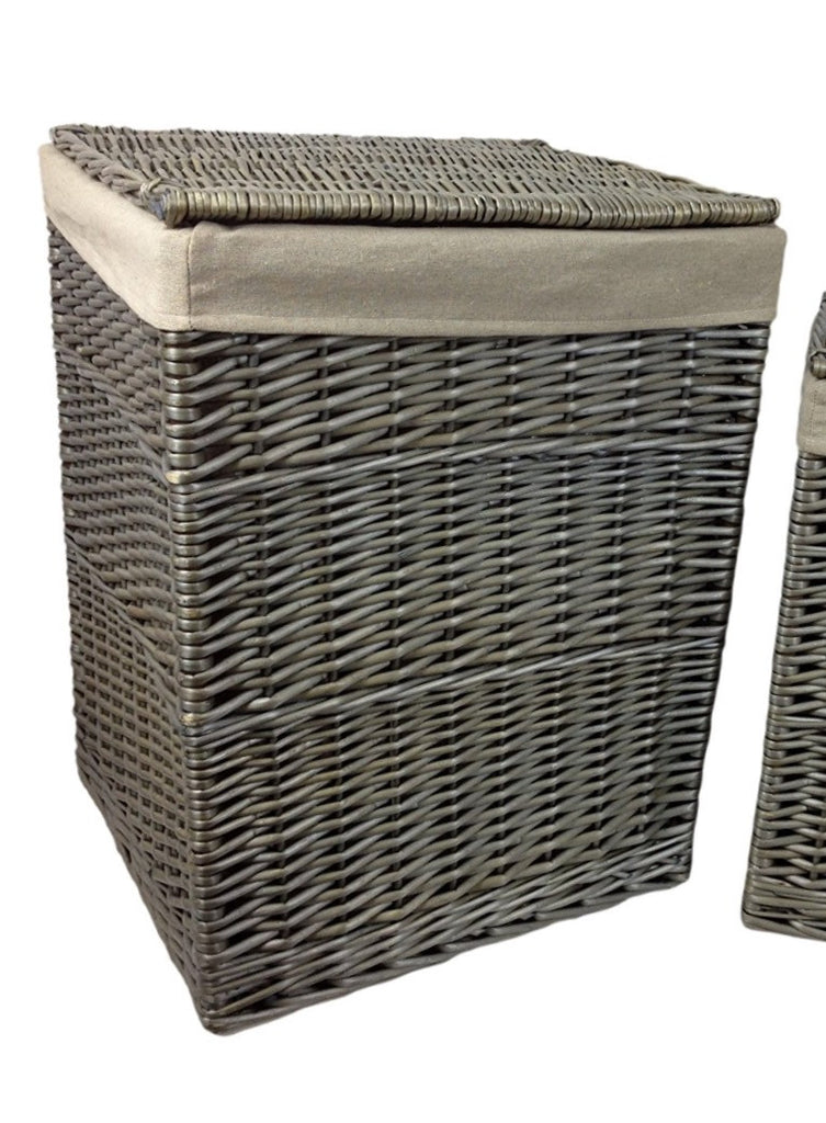 quality antique wash lined willow wicker linen laundry basket square large - Wicker Laundry Basket
