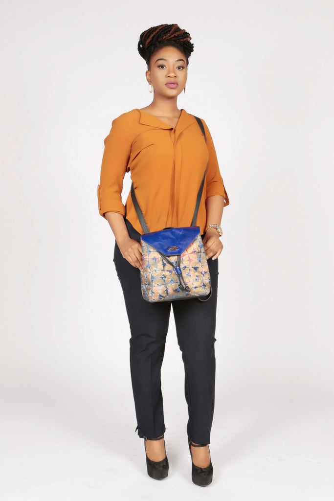 Pepperfruit Batik Print Backpack With Blue Leather