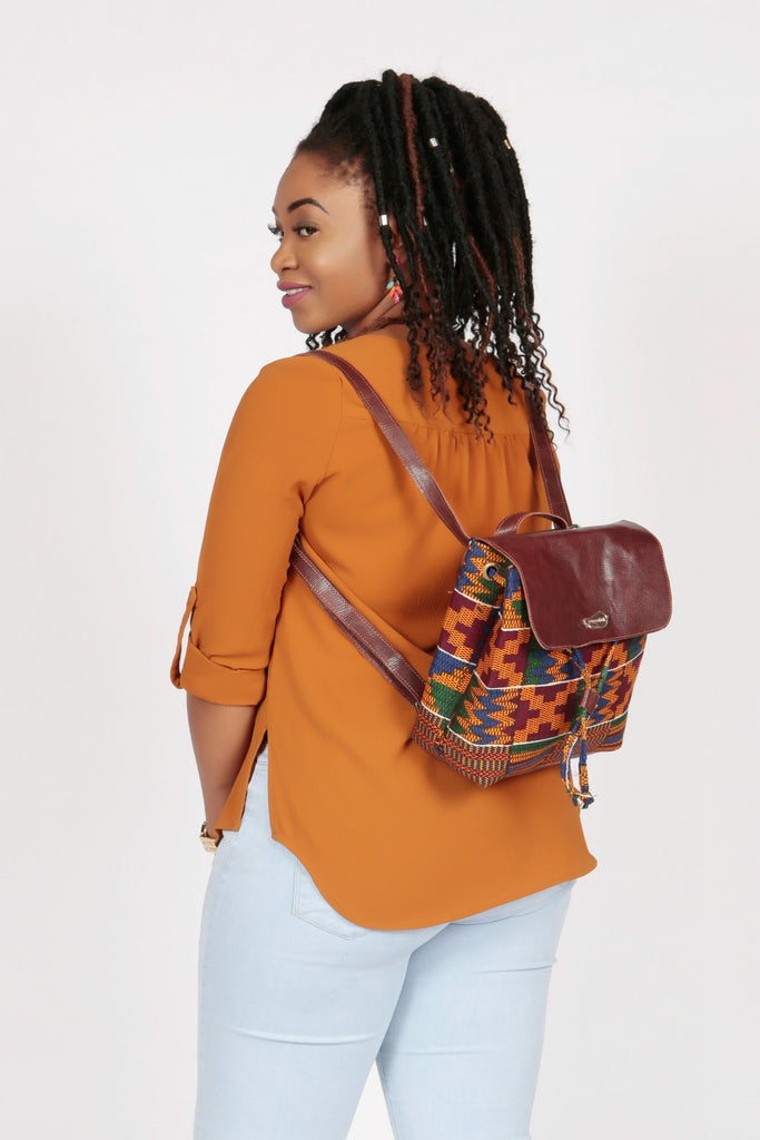 Pepperfruit Kente Print Backpack With Brown Leather